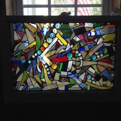 Abstract Art Glass Mosaic Window Wall by MotherDaughterMosaic