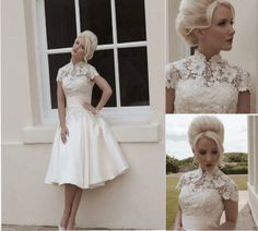 2014  High quality lace High neck Cap sleeve tea length A line  style  summer bridal gown plus size wedding dress