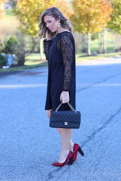Black Lace Dress & Red Leopard Pumps | Holiday Dressing | #LivingAfterMidnite