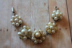 Gold Pearl Bracelet Granny Chic Unique Wedding Eco by belmonili @belmonili