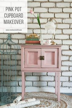 Pink Pot Cupboard gets a makeover with Fusion Mineral Paint in English Rose and Black Wax. Painted Cupboards, Colorful Furniture, Furniture Makeover Diy, Painted Furniture Ideas Dressers, Painting Furniture Diy Wood, Diy Furniture Restoration, Diy Cupboards, Cupboard Makeover, Painted Furniture