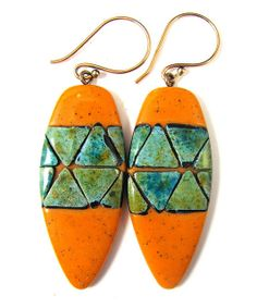 Fabulous Faux Collection - Pumpkin Mosaic Turquoise Earrings | Flickr - Photo Sharing! By Linda Moseley Diva Designs Inc.  She Rocks!