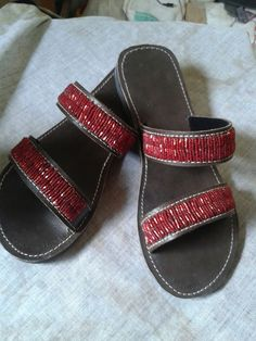 NEW - Red Hot - African Kenyan Handmade Real Leather Beaded Sandals, Flip flops, Thongs, Slippers