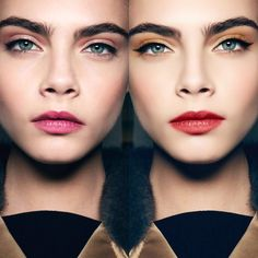 Left side is how I like to do eyeshadow colors with a red lip, right side color is a what-not-to-do