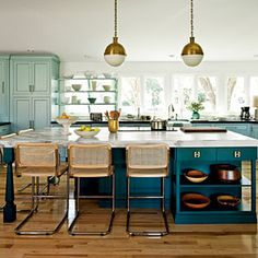 The Modern Family Kitchen   Southern living feb 2013  paint colors are kensington green and bermuda turquoise both benjamin moore
