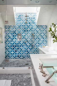 Blue patterned shower tile via House of Turquoise & Massucco Warner Miller Interior Design Related posts:Tonya Smith's Portland Home Is Full Of Vintage VibesRelated ImageGet Ready To Be Inspired By These Industrial Moroccan Tile, Dream Bathroom, Ann Sacks Tiles, House Styles, Bathroom Inspiration, Bathroom Decor, Beautiful Bathrooms, House Interior, Bathroom Design