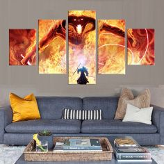 Gandalf vs The Balrog - 5 Piece Canvas Wall Art | Lord of The Rings Wall Art | Painting | Poster | Print | Mural | Decal | Artwork | Decor by EnyoArts on Etsy https://www.etsy.com/listing/515968144/gandalf-vs-the-balrog-5-piece-canvas