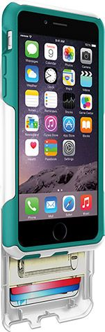 White with light teal iPhone 6 Wallet Case | Commuter Series Wallet by OtterBox