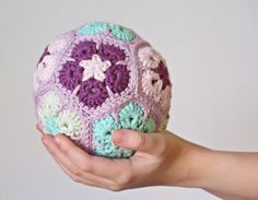 Rattle ball made with African Flower motifs by ByMarika