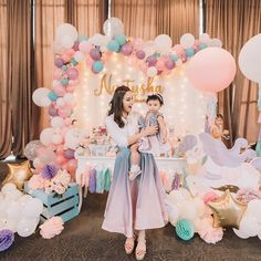Image may contain: 3 people Carousel Birthday Parties, 1st Birthday Party For Girls, Unicorn Themed Birthday Party, First Birthday Themes, Baby First Birthday, Birthday Party Decorations, Decoration Party, Festa Party, Perfect Photo