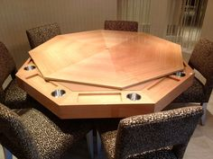 MITCHELL * Exclusive Billiard Designs*  Poker /Card Table by MITCHELL Pool Tables  Qrt Maple Veneer   Camel color Fabric on Playing Surface   Stainless steel Cup holders for up to 6 players