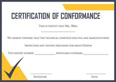 Certificate Of Conformance Template Free Templates Award Certificates Lab Labs