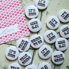 Custom wedding badges. Customise your own for no extra cost at