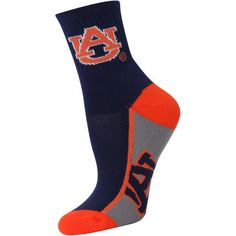 Auburn Tigers Women's Zoom Quarter-Length Socks ($11) ❤ liked on Polyvore featuring intimates, hosiery, socks, navy, for bare feet socks, navy socks, tiger print socks, tiger stripe socks y tiger socks
