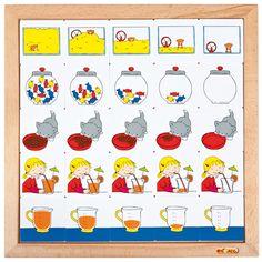 --- diagram inhoud ---Kinderen sorteren de plaatjes van het diagram van leeg naar vol en vice versa. Spelenderwijs leren ze inhoudsbegrippen als vol, leeg, voller, leegst enz.  Inhoud:  25 kunststof legkaartjes in een houten inlegraam.  Formaat: 34 x 34 cm. 523 192