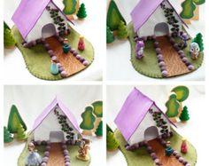 Purple Rose Castle Playscape Play Mat felt by MyBigWorld2015