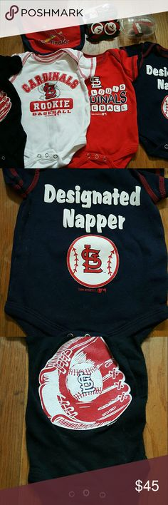 0-3 mo St Louis Cardinals Bundle Calling all St Louis Cardinals Fans!!! I have a 0/3 month Boy Bundle for you!!! All Brand New(no tags) except for 1,pkg of pacifiers but non are used)comes with carrying case to keep them clean.  Bundle includes the following 4 onesies, 1 velcro bib,  4 silicone pacifiers w/plastic case (Each onesie was over $20 new, just to give you an idea how expensive) Bought for new grandson but by the time I was able to go see him he was too big for these NBL Other