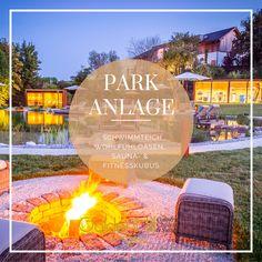 Auszeit in einer traumhaft ruhigen Natur, im eigenen Chalet mit jeweiligem privaten Spa, einer 15.000 m² Parkanlage samt 600 m² Naturschwimmteich Golden Hill, Park, Outdoor Decor, Home Decor, Formal Gardens, Natural Garden, Time Out, Swimming, Luxury