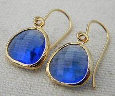 Colbalt Blue and Gold Earrings by Greenperidot on Etsy, $19.50