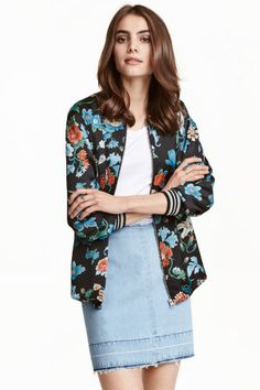 Satin bomber jacket: Bomber jacket in patterned satin with a zip down the front…