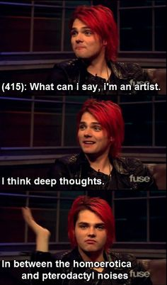 """I wonder if he ever just looks up """"Gerard Way memes"""" and sees all this Emo Band Memes, Mcr Memes, Emo Bands, Music Bands, Mcr Quotes, Emo Meme, Music Stuff, My Music, My Chemical Romance Memes"""