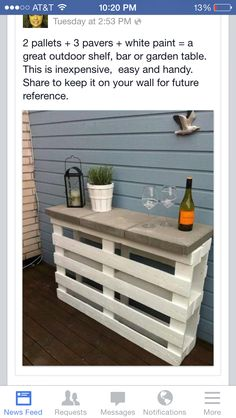 For a cooking/buffet table on the patio?!Quick easy cheap table idea