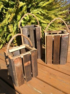 Lantern Candle Holder Set of 3, Reclaimed Pallet Candle holders,  (Free Shipping) by RusticShedHeads on Etsy
