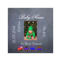 Baby Birth Record and Photo chalkboard Gallery Wrap Canvas