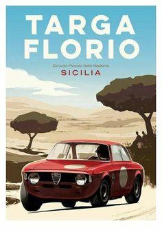 Alfa Romeo's Sports Sedan is a Future Classic: HagertyThe 2017 Alfa Romeo Giulia Quadrifoglio has Vintage Racing, Vintage Cars, Dodge Polara, Vintage Italian Posters, Poster Vintage, Alfa Romeo Gta, Old Sports Cars, Car Prints, Automobile
