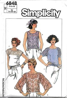 Simplicity 6848 Misses Set Of Lace Tops Sewing Pattern, Size 6-8-10, UNCUT by DawnsDesignBoutique on Etsy