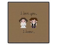 Han and Leia in love made bite size!  Fabric: 14 Count Grid Size: 50W x 50H Design Area: 1.71 x 2.00 (24 x 28 Stitches)  PDF contains: Full Color