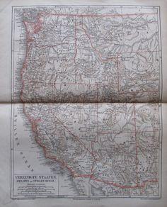 VEREINIGTE STAATEN STILLEN OCEAN 1878 alte Landkarte Lithographie USA old map | eBay