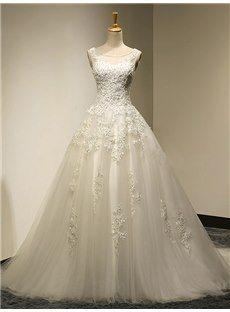 Rund-Ausschnitt A-Linie Applikation Spitze Bodenlang Hochzeitskleid