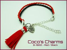 Braided Leather Red and Black Bracelet - Cocos Charms