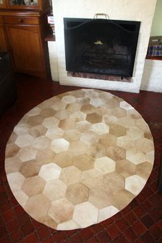 Bespoke quality patchwork rug made of hexagon by OmbuDesign