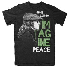 Officially licensed John Lennon Imagine Peace t-shirt. Men's standard fit 100 cotton t-shirt. Black.This t-shirt will be a great addition to any music lovers wardrobe. Check out this and many other artist t-shirts at giftsbeyond.com in the For The Music Lover section.