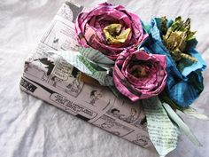 newspaper/watercolor flowers http://bluepurpleandscarlett.com/2011/08/15/newspaper-challenge-for-somerset-life/