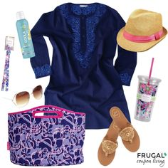 Navy blue bathing suit cover up, brightly printed beach tote, and Jack Rogers sandals. Look perfect at the beach or pool!