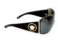 Men's #BlackandGold #VERSACE Shield Sunglasses