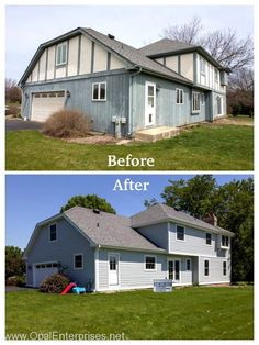 Before and After James Hardie Siding on home in Warrenville installed by Opal Enterprises. #OpalCurbAppeal