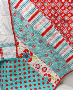 baby quilt Breezy in red turquoise aqua pink by moonspiritstudios