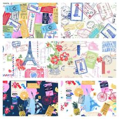 All Aboard, Travel, Europe, Passport Stamps, Postage Stamps, WANDERLUST, Michael Miller Fabrics, Quilting Cotton