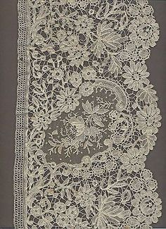 Antique Belgian point de gaze needlepoint lace - very long and beautiful! Needle Lace, Bobbin Lace, Crochet Cross, Diy Crochet, Antique Lace, Vintage Lace, Textiles, Types Of Lace, Lacemaking