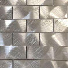 Give your kitchen backsplash a stylish modern look by choosing this Urban Silver Aluminum Mosaic Tile from Splashback Tile. Shower Backsplash, Splashback Tiles, Mosaic Wall Tiles, Kitchen Backsplash, Mosaic Glass, Backsplash Ideas, Mosaic Rocks, Stainless Backsplash, Tile Ideas