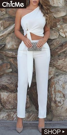 One Shoulder Ruched Knot Top & Pant Sets in 2020 Elegant Outfit, Classy Dress, Classy Outfits, Stylish Outfits, Sexy Classy Style, All White Party Outfits, Summer Outfits, White Outfits For Women, White Fashion