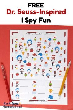 Enjoy easy fun with kids using this free printable Dr. Seuss-Inspired I Spy activity. Great for parties, classroom, library, family, & homeschool fun! Dr Seuss Activities, Library Activities, Kindergarten Activities, Measurement Activities, Sequencing Activities, Dr Seuss Game, Dr Seuss Week, Dr. Suess, Dr Seuss Printables