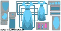 PB layered blue dress cosplay design draft by Hollitaima.deviantart.com on @deviantART