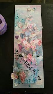 Serviettentechnik, butterfly, Pink, blue