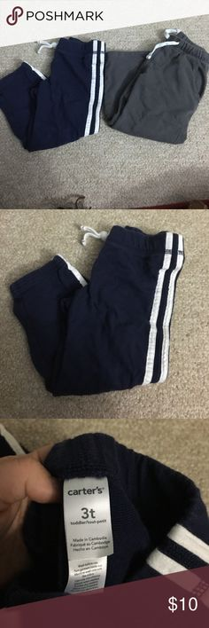 Lot of 3t boys pants. Carters brand. Very gently used 3t boys pants. grey has working drawstring. Blue with stripes does not. No flaws. Carter's Bottoms Sweatpants & Joggers