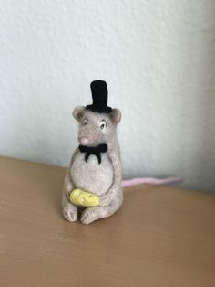 Handmade Soft Sculpture Gift Made From Needle Felted Animals, Felt Animals, Needle Felting, Felt Mouse, Horse Hair, Soft Sculpture, Bows, Christmas Ornaments, Cute